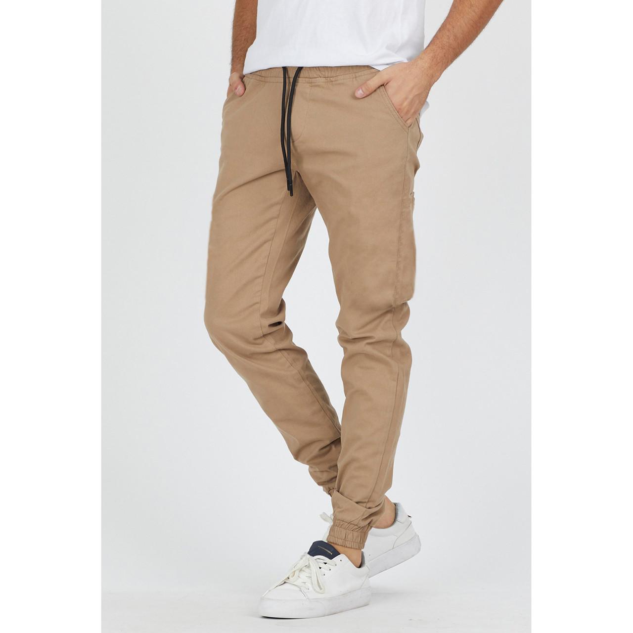 Джоггеры мужские подростковые бежевые хлопковые стильные брюки
