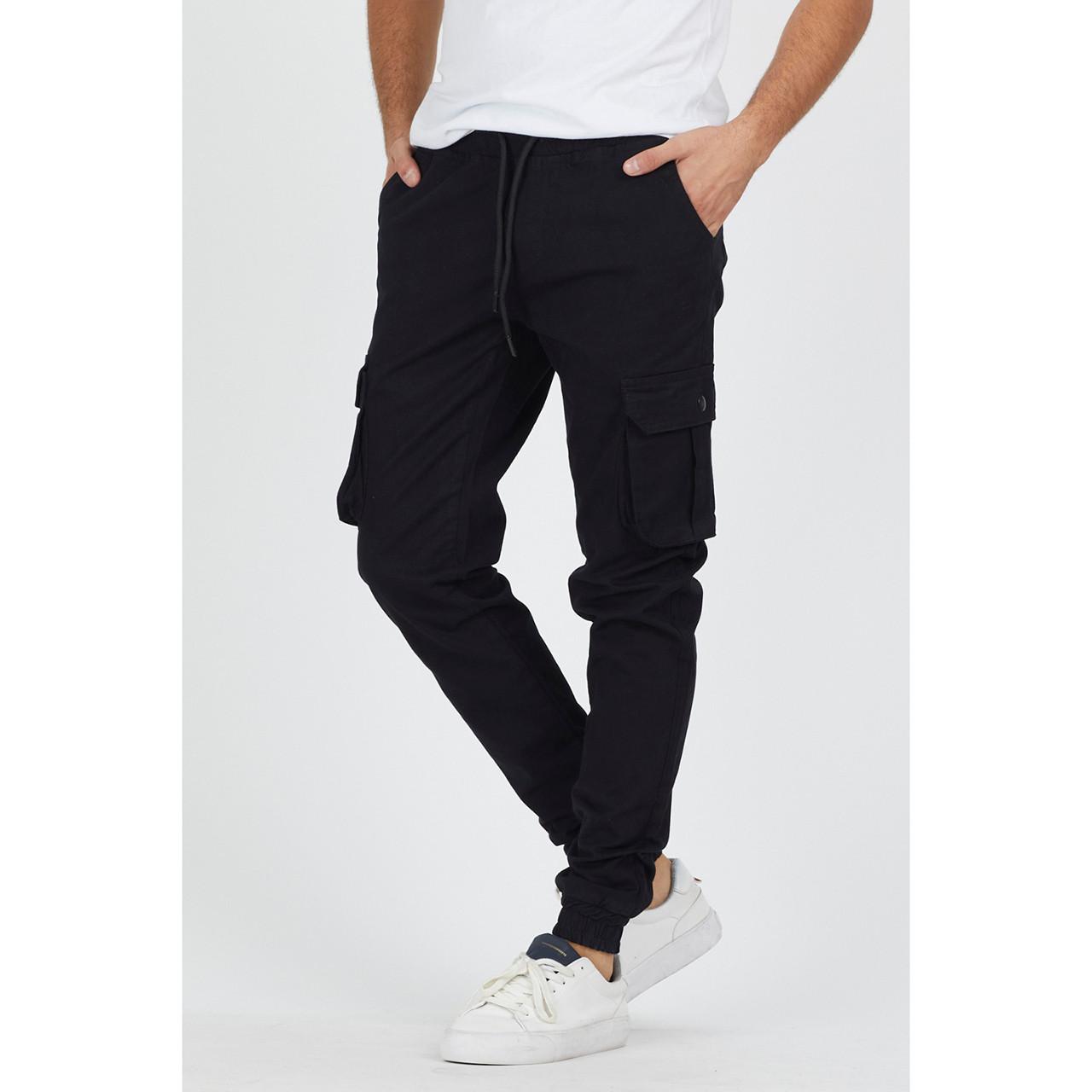 Штани чоловічі чорні бавовняні з кишенями джогери