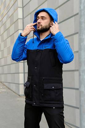 Парка Nike синяя черная зимняя + штаны спортивные найк+Барсетка и перчатки в Подарок. Комплект мужской, фото 3