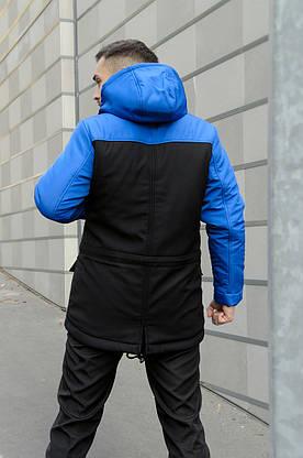 Парка Nike синяя черная зимняя + штаны спортивные найк+Барсетка и перчатки в Подарок. Комплект мужской, фото 2