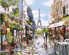 Картина по номерам раскраска по цифрам холст с контуром для взрослых 40х50см цветущий Париж
