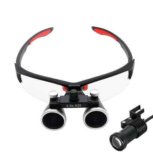 Бинокулярные увеличительные очки лупа 3.5х 420мм с подсветкой и АКБ 1800мАч