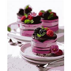 Картина по номерам раскраска по цифрам холст с контуром для взрослых 40х50см Десерт для души