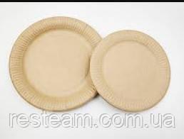 Тарелка бумажная круглая 18 см EСО крафт 100шт/уп PAPER CUPS