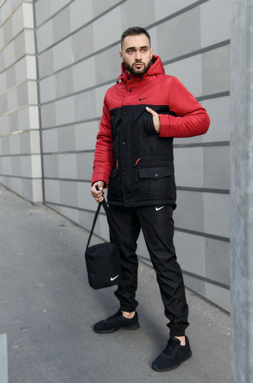 Парка Nike красная черная зимняя + штаны найк+ Барсетка и перчатки в Подарок.Комплект мужской