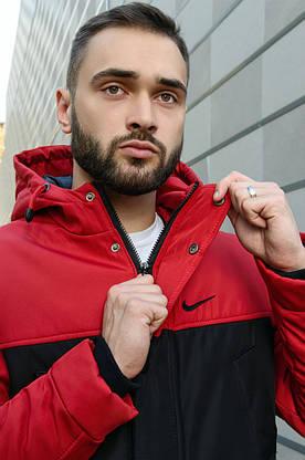 Парка Nike красная черная зимняя + штаны найк+ Барсетка и перчатки в Подарок.Комплект мужской, фото 2