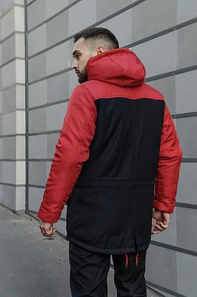 Парка Nike красная черная зимняя + штаны найк+ Барсетка и перчатки в Подарок.Комплект мужской, фото 3