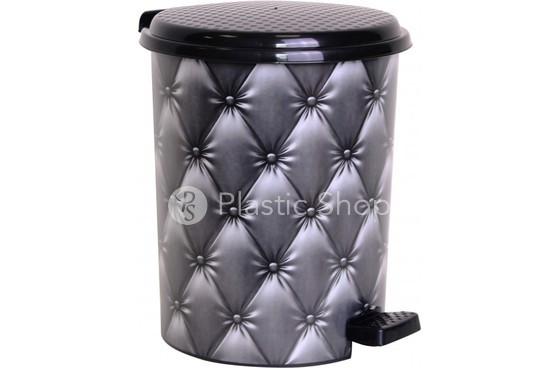 Педальное ведро Elif 24л с рисунком  Black Leather кожа, пластиковое (Турция)