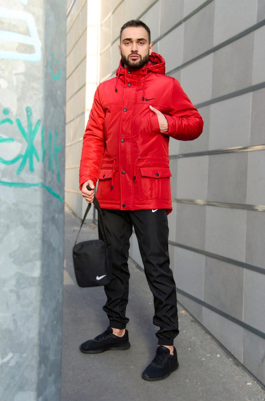 Парка Nike красная зимняя + штаны спортивные черные найк+Барсетка и перчатки в Подарок.Комплект мужской