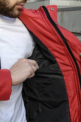 Парка Nike красная зимняя + штаны спортивные черные найк+Барсетка и перчатки в Подарок.Комплект мужской, фото 3