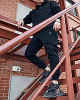 Мужской спортивный костюм зимний до -20*С черный Оверсайз теплый комплект Худи + Штаны | ЛЮКС качества