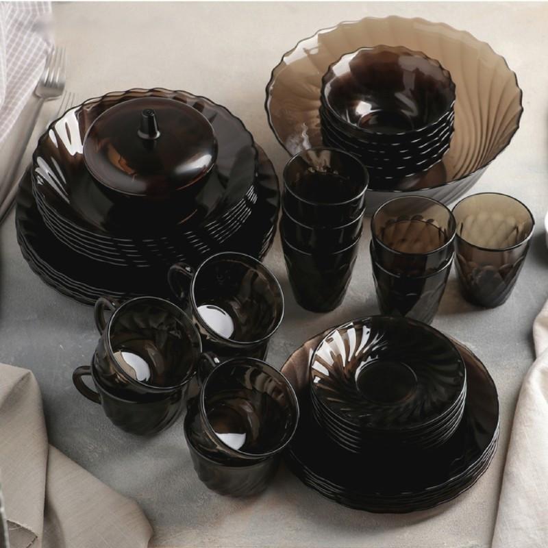 Большой столовый набор из коричневого стекла Luminarc Eclipse 44 предмета (L5110)