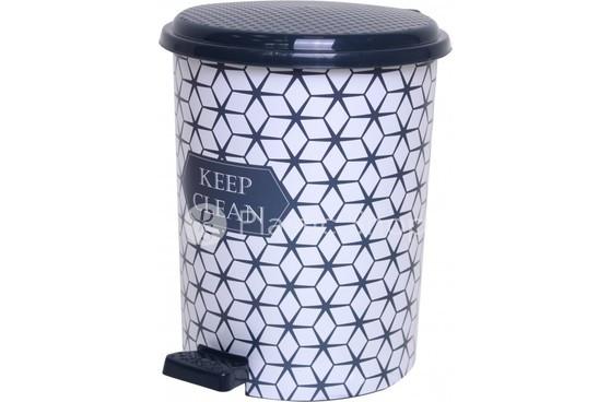 Педальное ведро Elif 24л с рисунком Keep Clean, пластиковое (Турция)