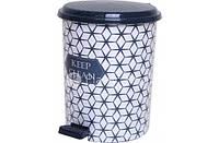 Педальное ведро Elif 24л с рисунком Keep Clean, пластиковое (Турция), фото 1