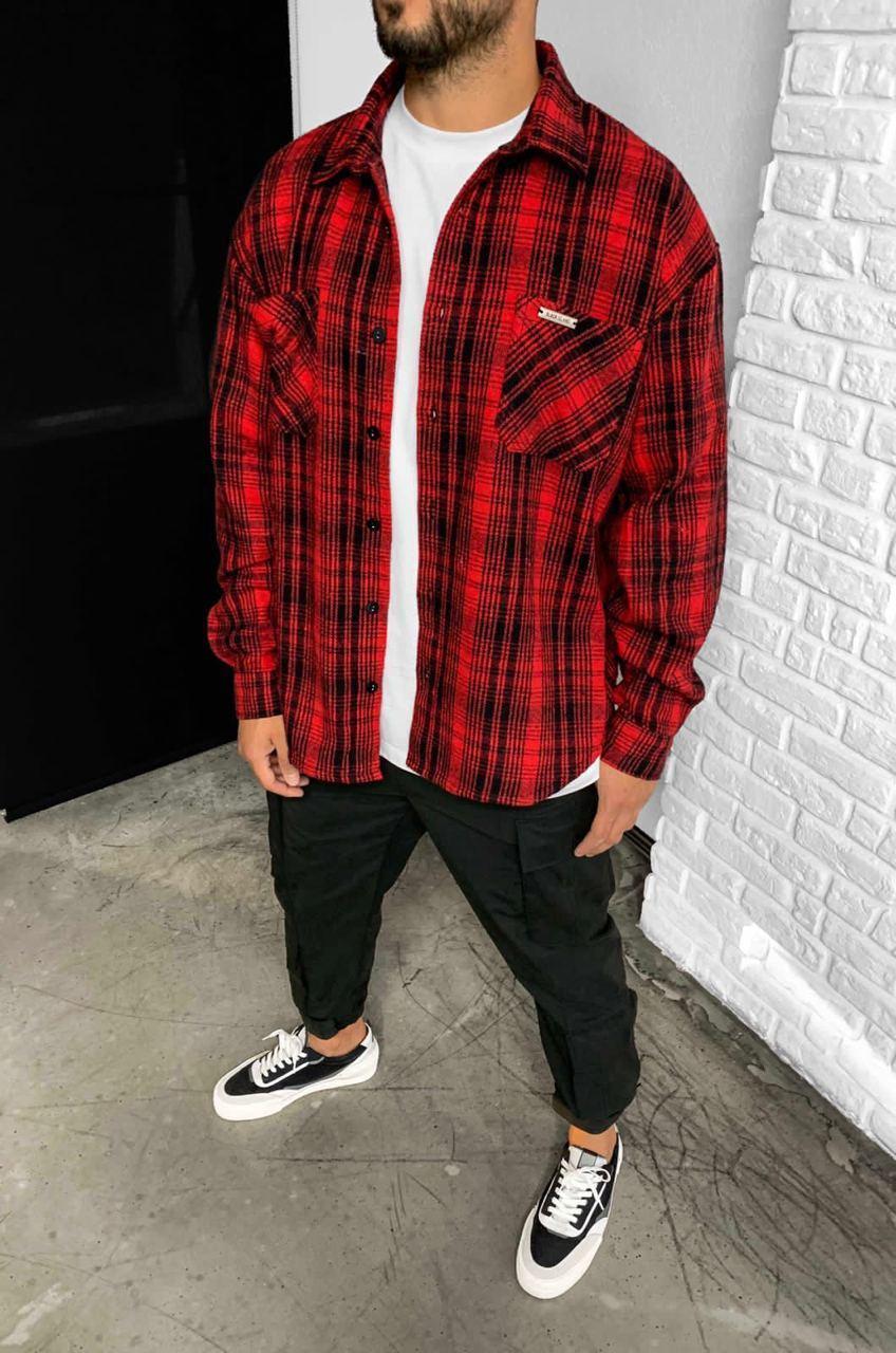 Чоловіча сорочка байка Island Black red 5815