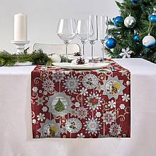 """Новогодняя дорожка на стол (раннер) """"Новогодние узоры"""" 140х47см"""
