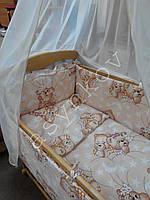 Детская кроватка без лака, матрац, постель 8 предметов