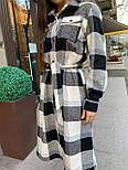Женское платье-рубашка шерсть в клетку (в расцветках), фото 9