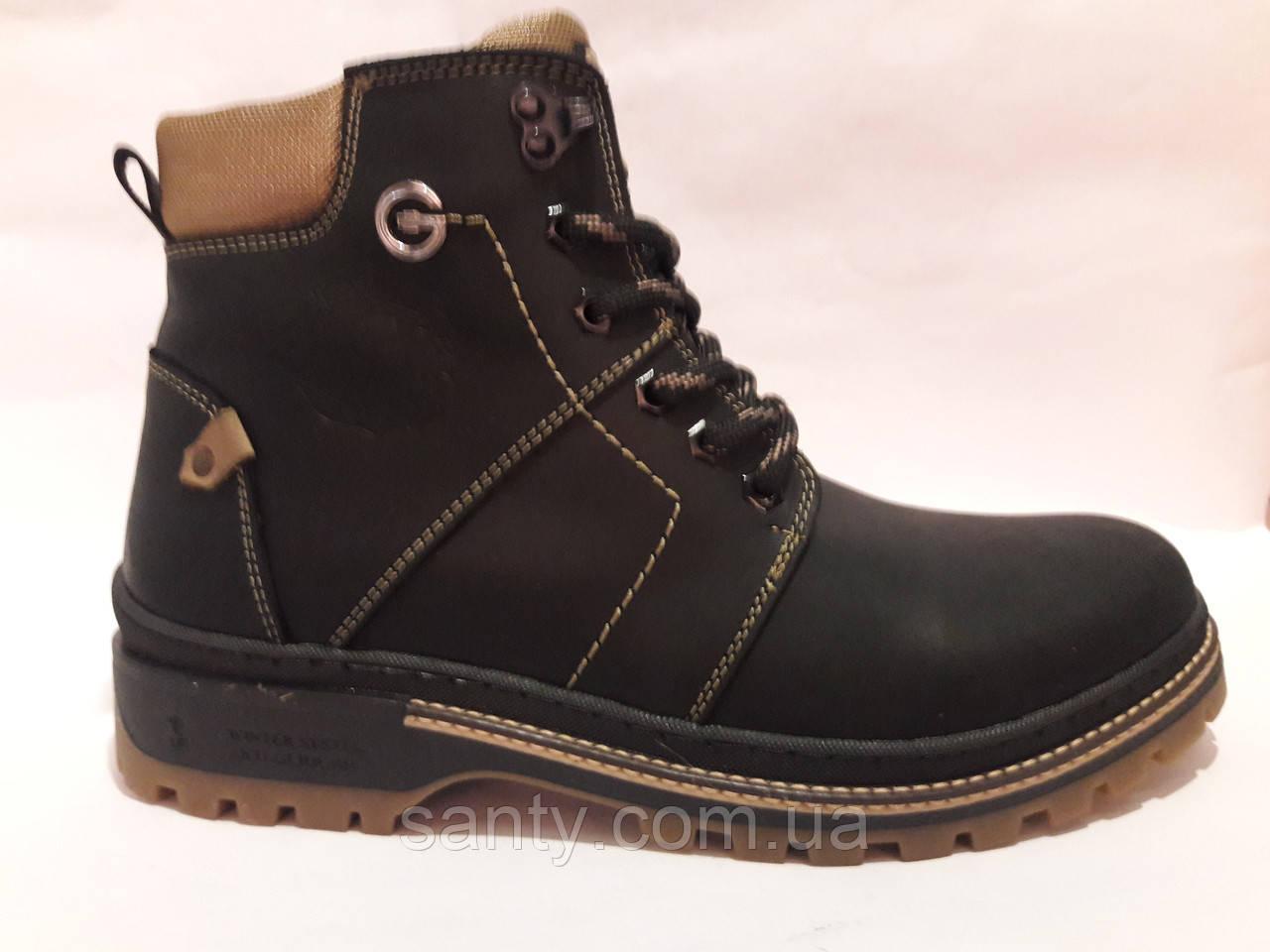 Мужские зимние ботинки из натуральной кожи. Чоловічі зимові чоботи.