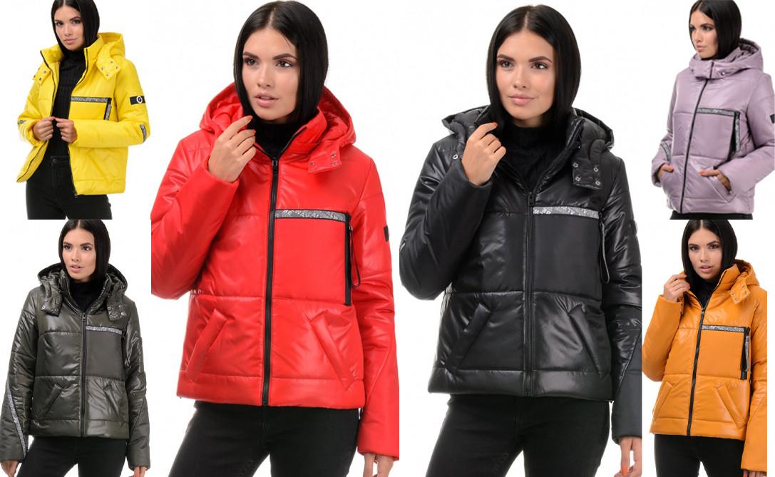 Демисезонная женская куртка прямого силуэта с декоративными элементами AG-298