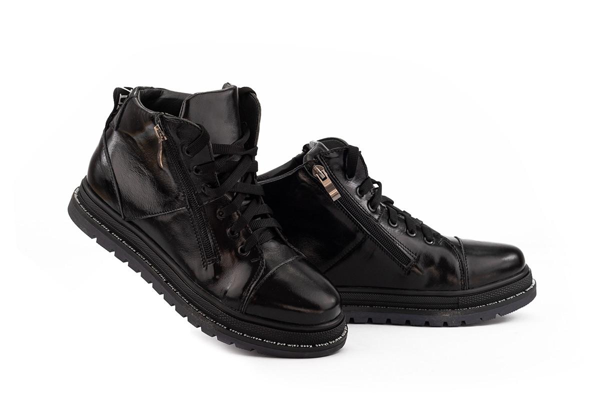Женские ботинки кожаные весна/осень черные