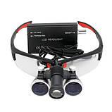 Бинокулярные увеличительные очки лупа 3.5х 420мм с подсветкой и АКБ 1800мАч, фото 2