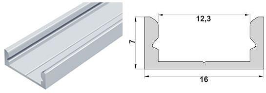 Алюмінієвий профіль ЛП7 для світлодіодних стрічок 4595