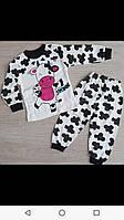 Пижама для девочки 1-3 лет белого цвета коровка оптом