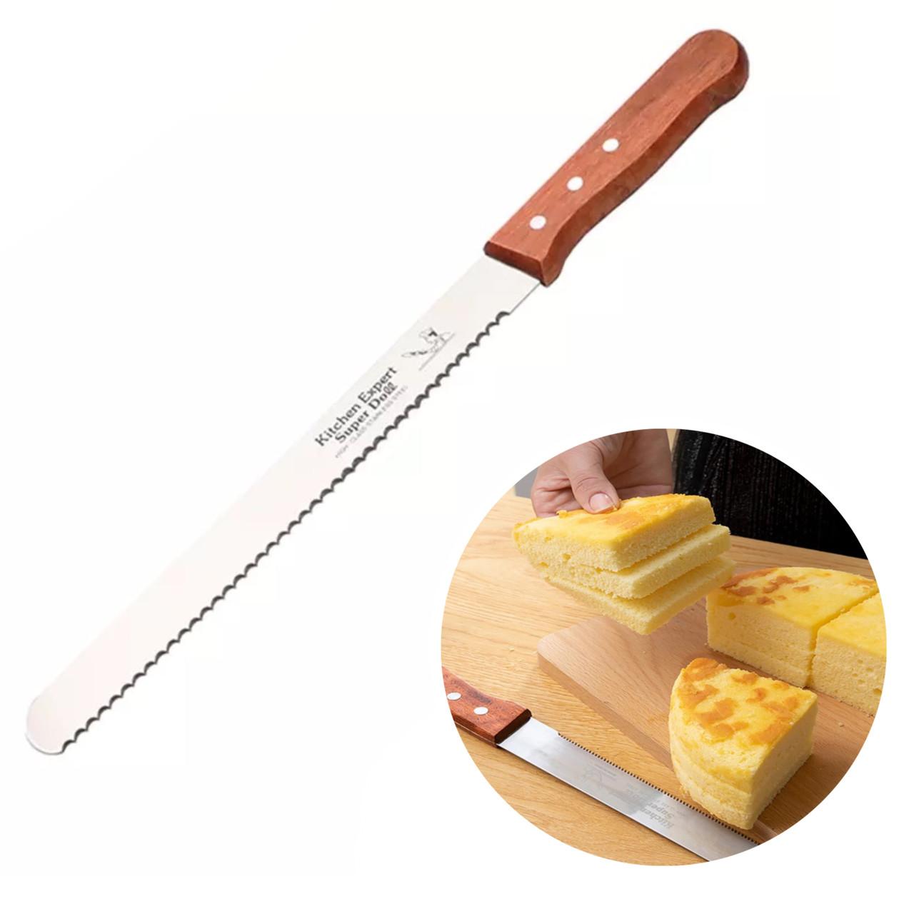 Нож для нарезки коржей крупный зубчик (32,5см)