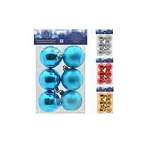 Елочные шарики 6см 6шт/пак (варианты цветов)
