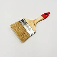 "Пензель плоский ""Стандарт"" 4,0"" (100мм/10мм/38мм), натуральна щетина, дерев'яна ручка, фото 1"