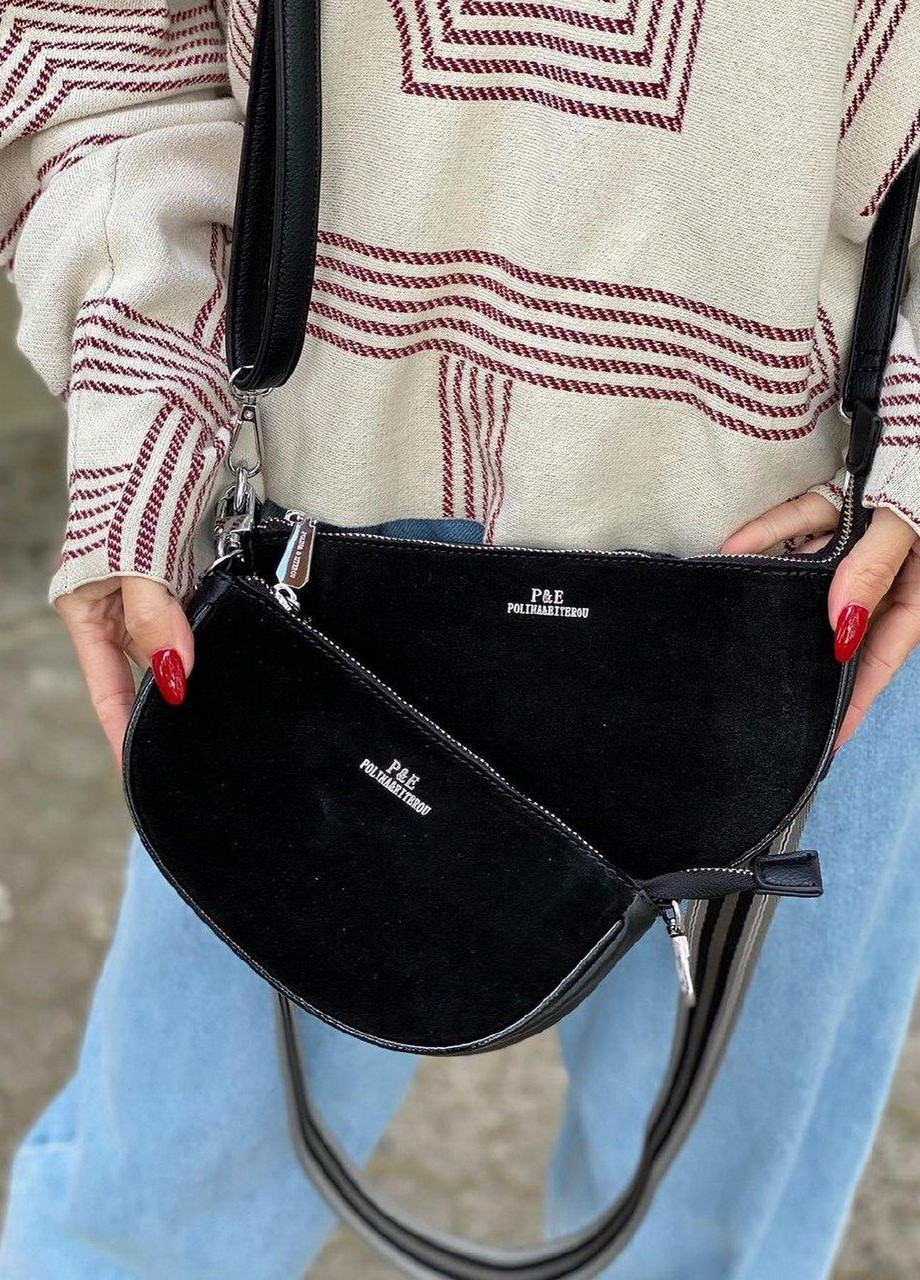 Женская замшевая сумка двойная polina&eiterou черная