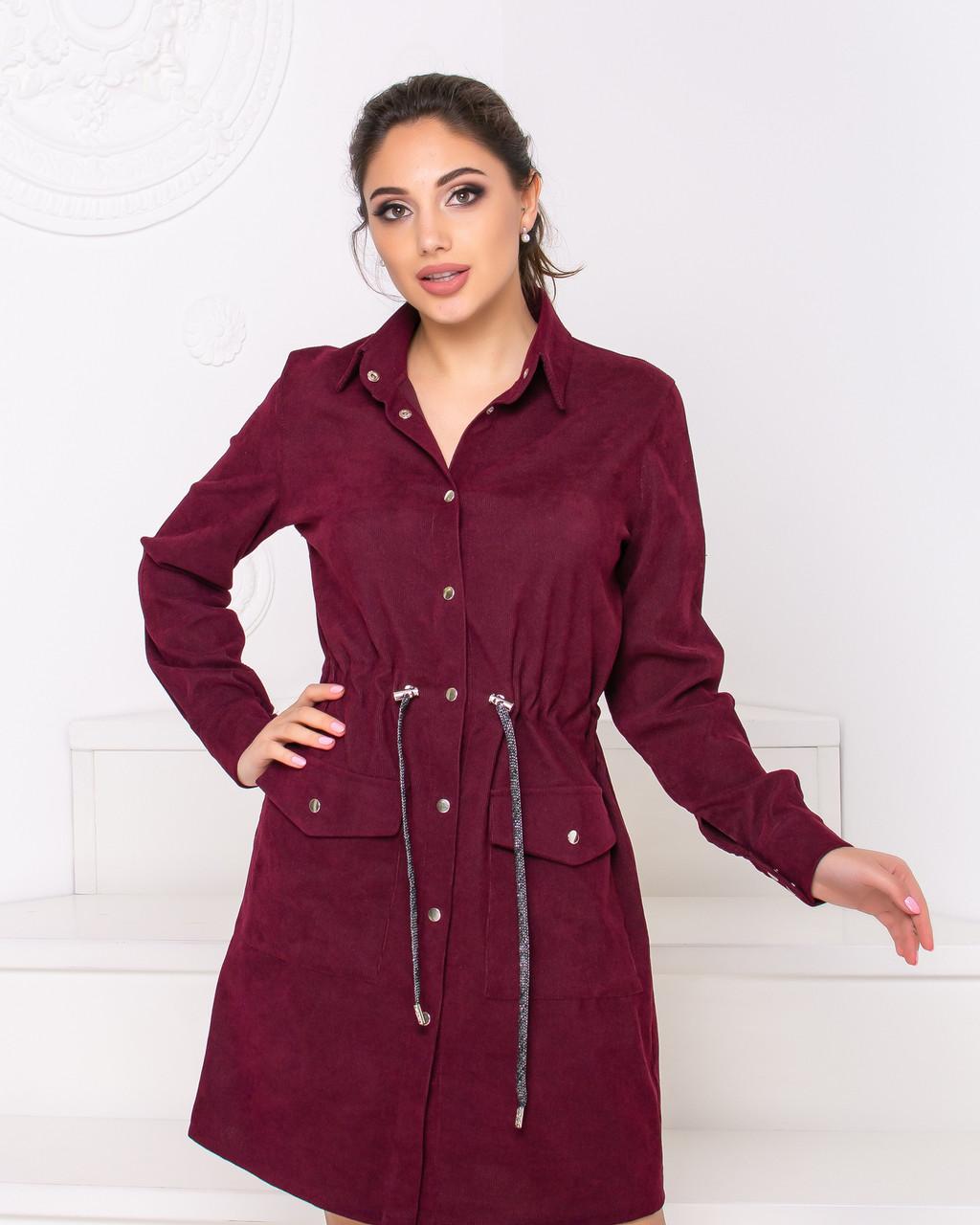 Платье-рубашка женская бордового цвета  от YuLiYa Chumachenko
