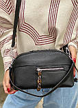 Женская кожаная сумка polina&eiterou черная, фото 7