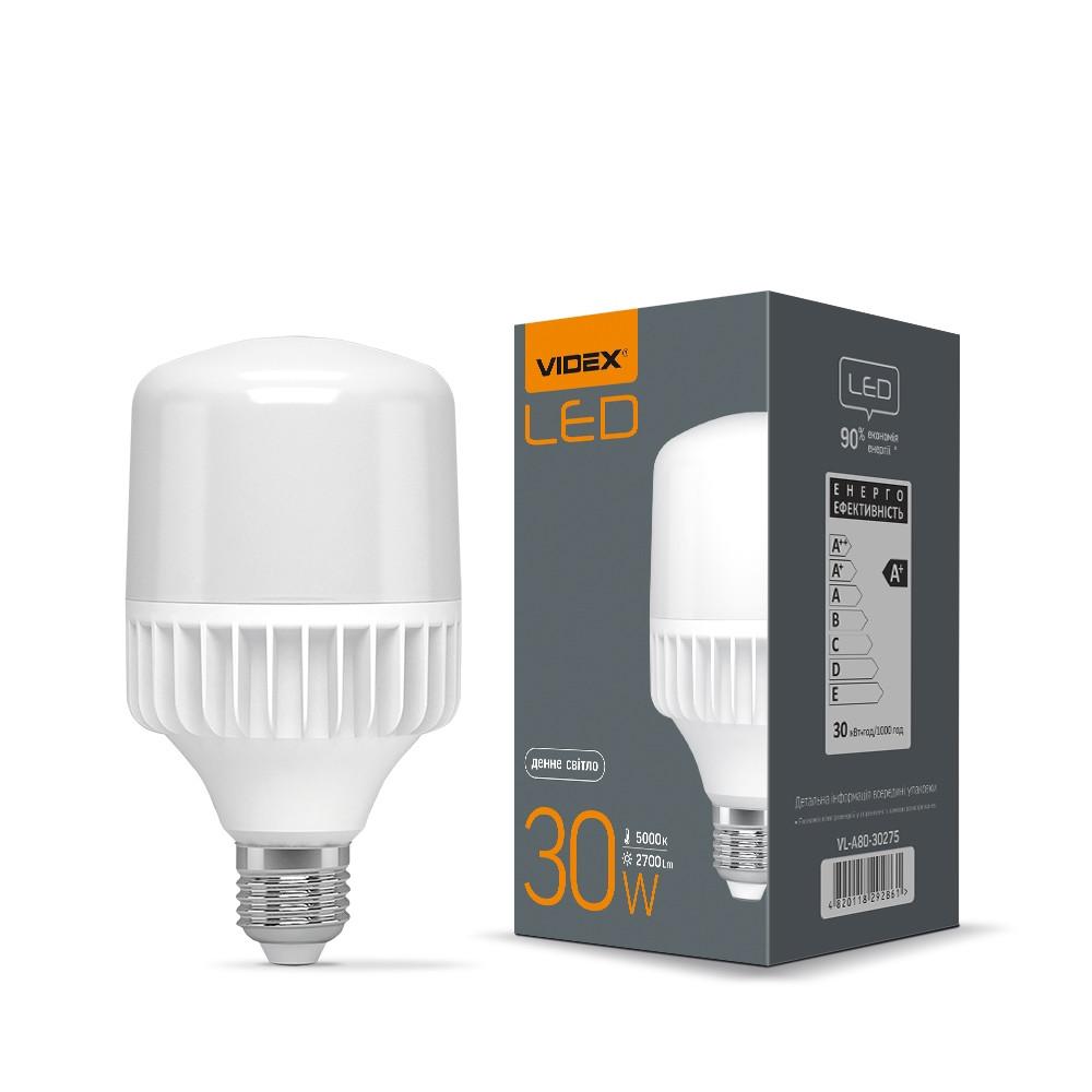 Лампа светодиодная промышленная VIDEX A80 30W E27 5000K (25002)