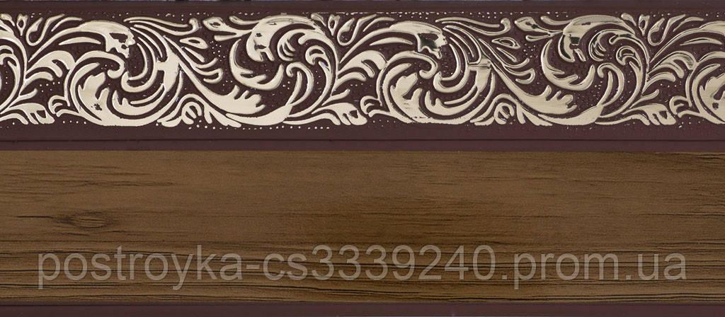 Лента декоративная на карниз, бленда Ажур 4 Орех тёмный 70 мм на усиленный потолочный карниз КСМ