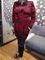 Бордовий теплий кардиган великих розмірів Квіти, фото 2