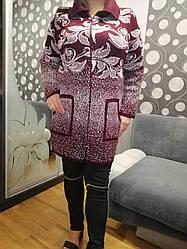 Бордовый теплый кардиган больших размеров Цветы