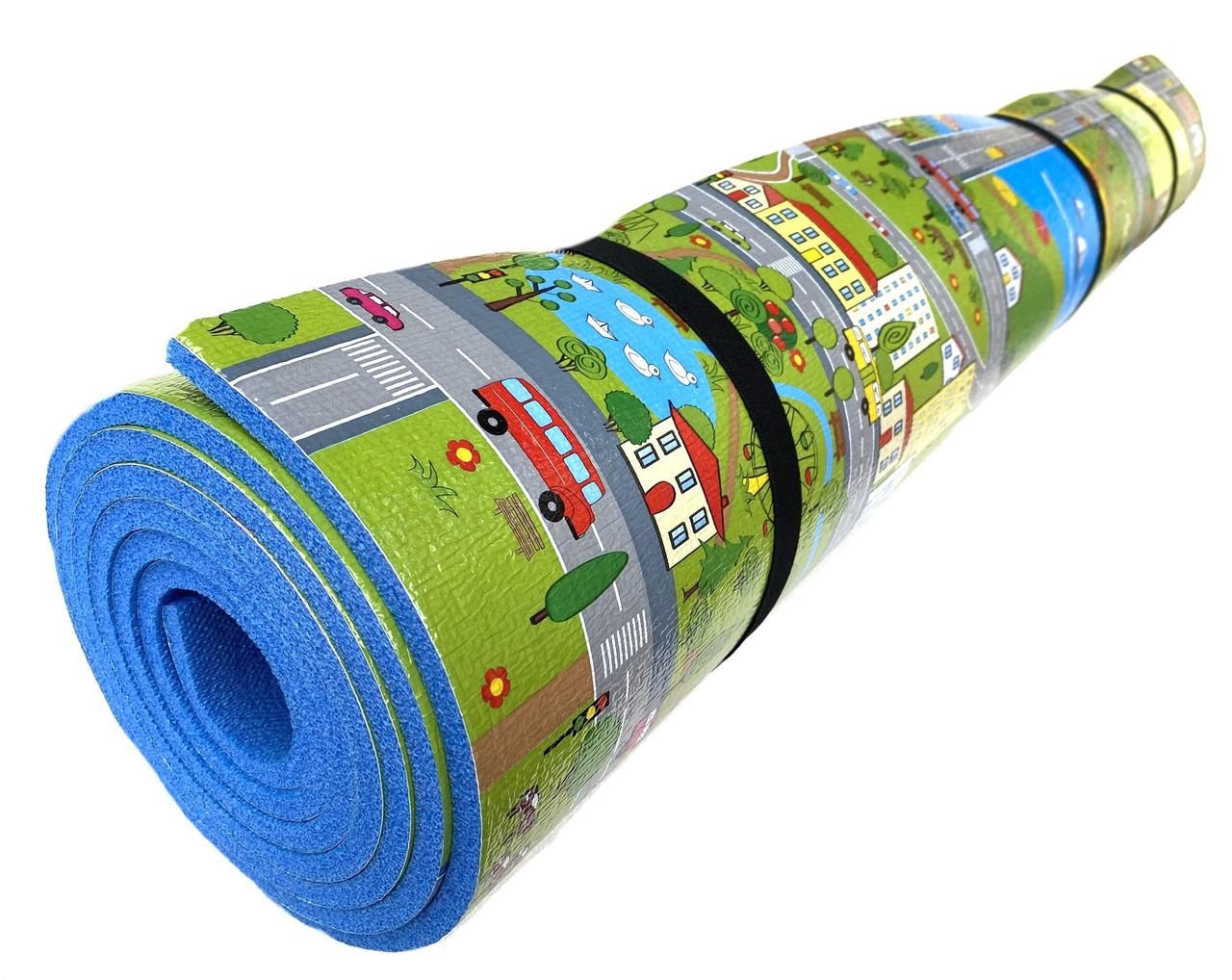 Детский коврик 2500×1200×8мм, «Парковый городок», теплоизоляционный, развивающий, игровой коврик.