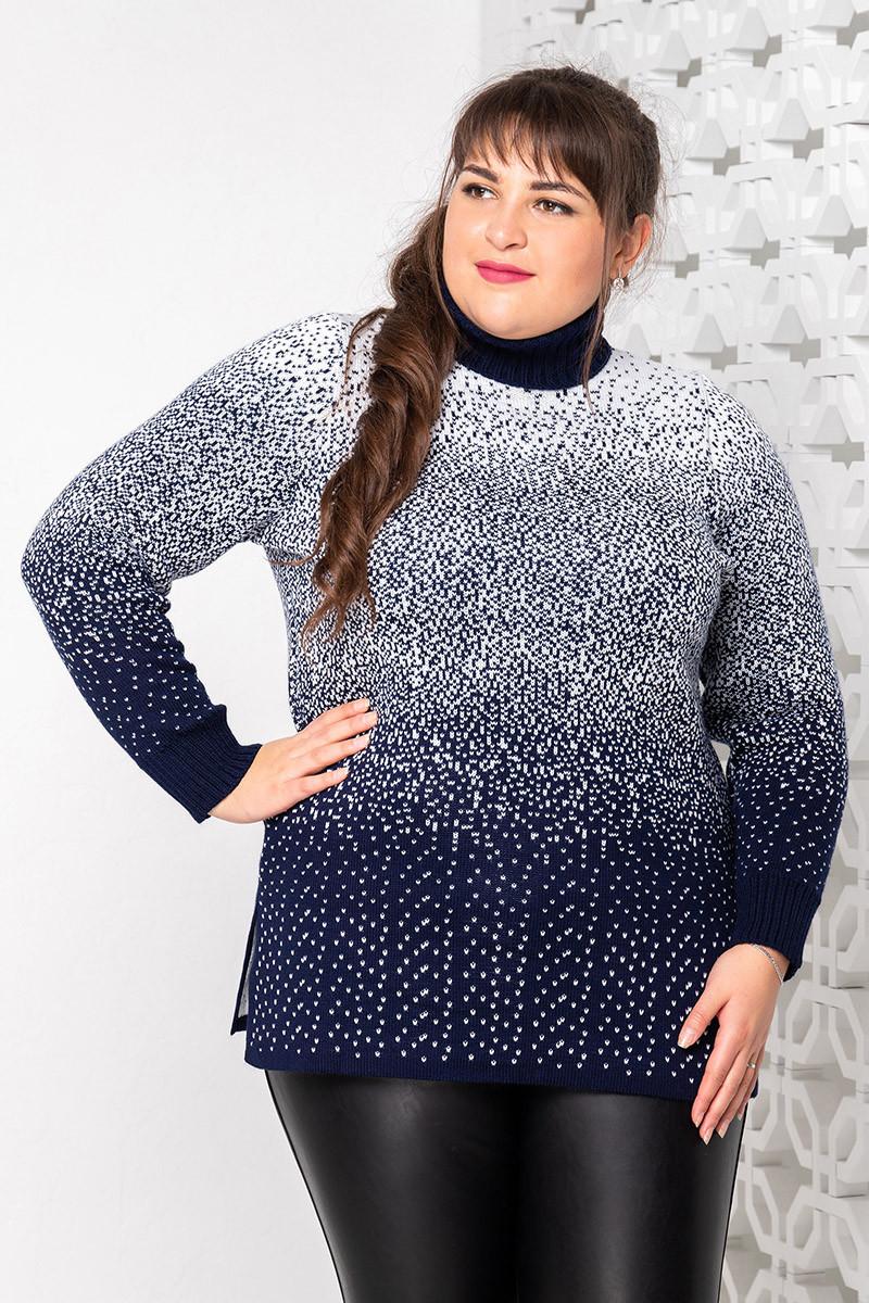 Теплый вязанный свитер под горло