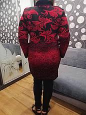 Теплая красная кофта больших размеров Цветы, фото 2