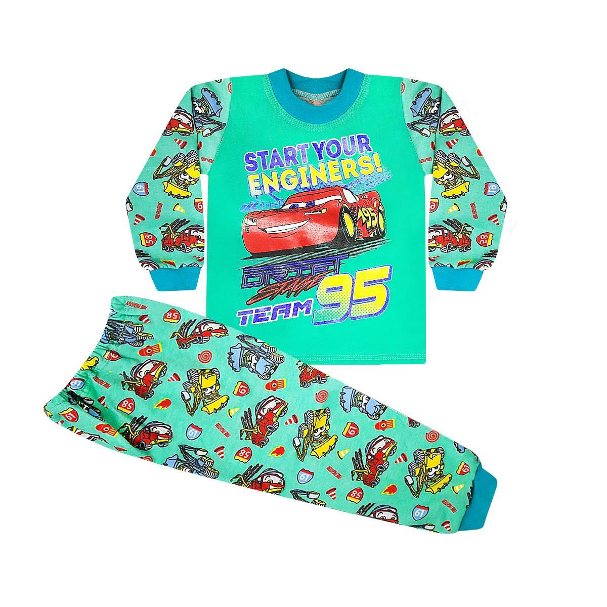 Детская пижама для мальчика Тачки начес