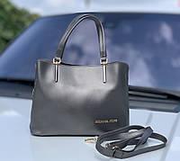 Сумочка женская серебристая среднего размера сумка небольшая классическая экокожа, фото 1