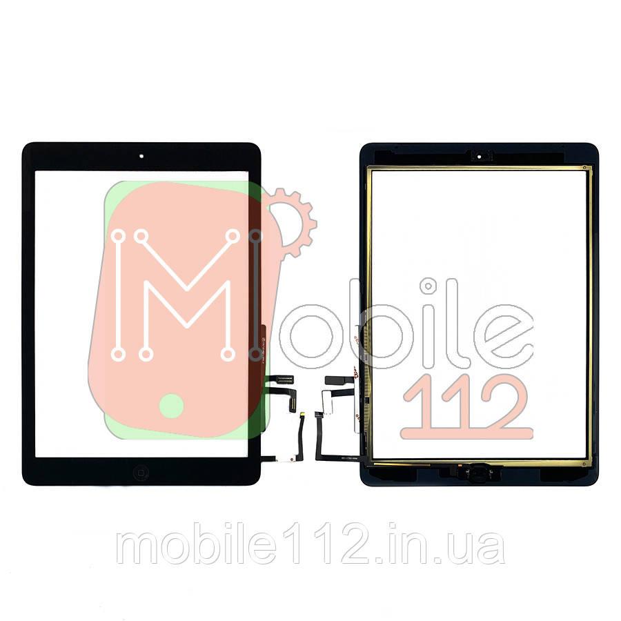 Сенсор (тачскрин) Apple iPad Air A1474 A1475 A1476, iPad 5 9.7 2017 A1822 A1823 черный копия высокого качества полный комплект с кнопкой Home