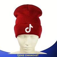 Шапка Tik Tok / ТикТок Красная - молодежная шапка-лопата с отворотом