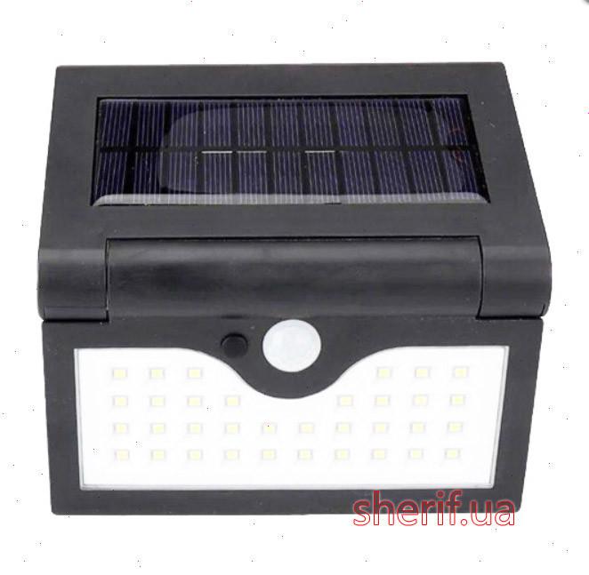 Настенный уличный светильник SH-090A-34SMD, 1x18650, PIR+CDS, солнечная батарея (13240)