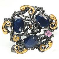 Серебряное кольцо с сапфирами разноцветными, 1557КС
