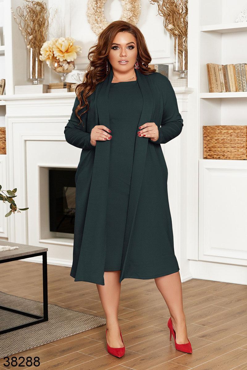 Женский комплект платье+кардиган Размеры: 54, 56, 58, 60