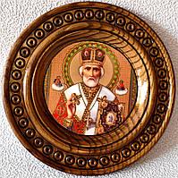 """Деревянная тарелка (икона) """"Св. Николай Чудотворец"""""""