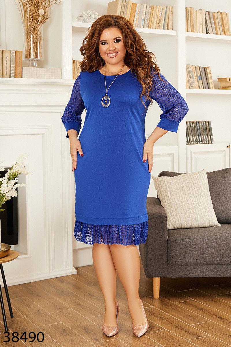 Женское платье с гипюровой отделкой размер: 50-52 54-56 58-60 62-64